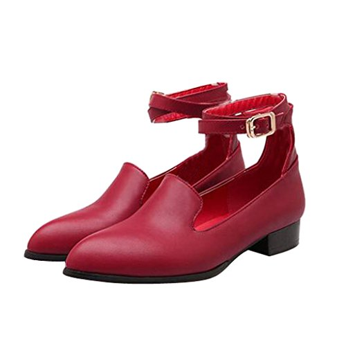 Dear Time Women Pointed Toe Strap Simple Flats Red E5Qwj3n