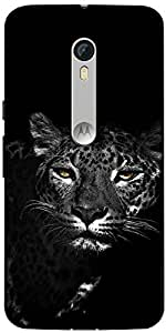 Snoogg Black And White Leopard Designer Protective Back Case Cover For Motoro...