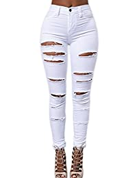 Women High Waist Casual Ripped Skinny Long Jeans Pants Trousers