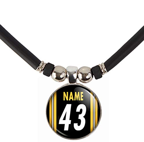SpotlightJewels Personalized Football Jersey Necklace. Football Charm/Pendant Customized with Name and Number. Unisex Football Jewelry. (Available in 32 Styles) - Name Football Charm