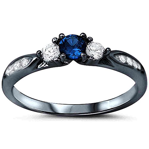 - 925 Sterling Silver Black Tone Rhodium Plated Ring, Round Simulated Blue Sapphire with Clear CZ Accent, Size-9