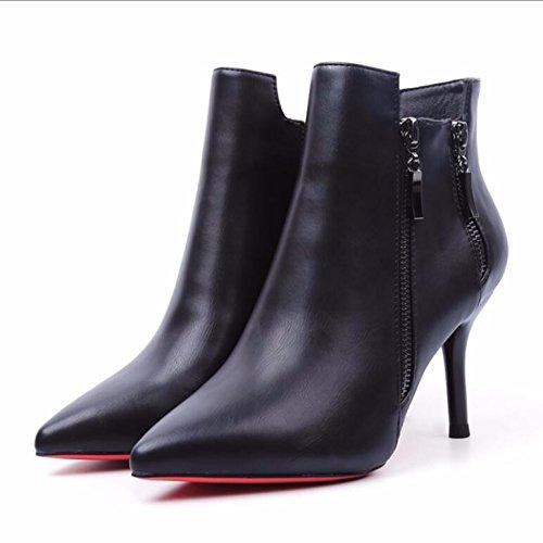 KHSKX-Sexy Negro Punta Fina Con Botas Cortas Mujeres Terciopelo Plus 8Cm Lateral High-Heel Zip Martin Zapatos Botas Otoño E Invierno Nuevas Botas Desnudo 36 37
