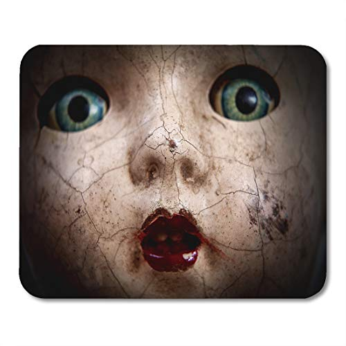 (Emvency Mouse Pads Horror Scary Cracked Old Doll Face Shallow Focus Antique Halloween Abuse Mouse pad 9.5