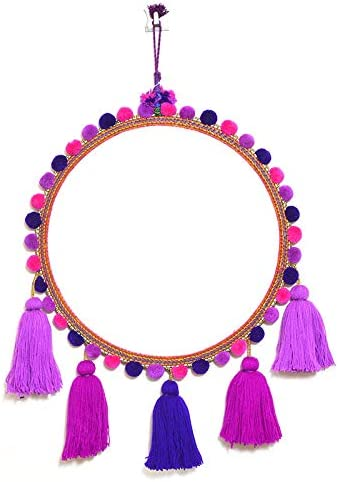 Amazon Com Patwa Craft Handmade Wall Hanging Mirror Pom Pom Thread Wall Art Home Dacor Both Side Mirror 55 X 38cm Bohemian Boho Style Idea Home Kitchen