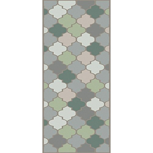 2.5' x10' Geometric Dance Moss Green and Gray New Zealand Wool Area Throw Rug Runner by Diva At Home