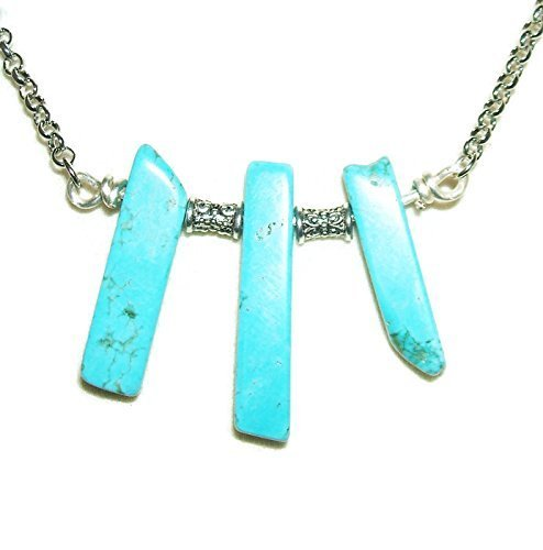 Slab Turquoise Necklace - Necklace TURQUOISE BLUE Trio Stone Pendant CALM EMOTIONS DREAM RETENTION Metaphysical