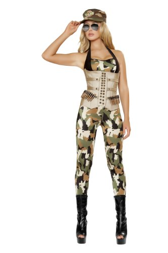 Roma Costume 4 Piece Sensual Soldier Costume, Camouflage, -