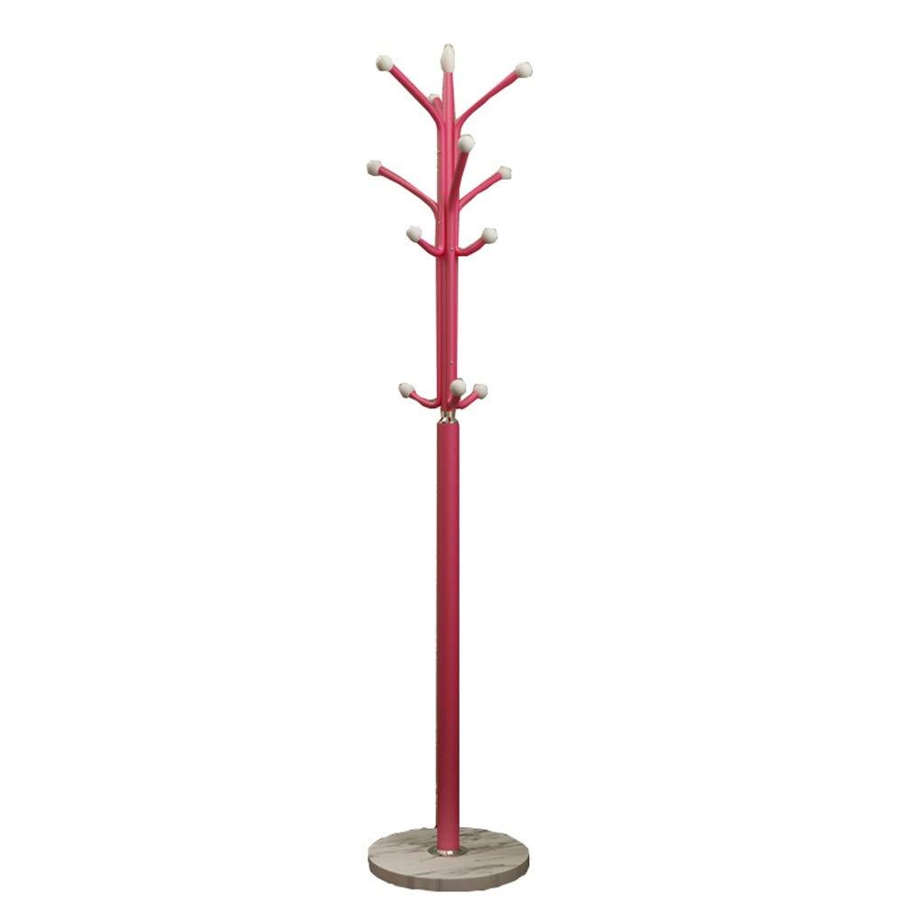 LVZAIXI コートスタンド、シングルロッドハンガー9フックホール傘ホルダーフックオフィス玄関大理石ベース(4色) (色 : Red)  Red B07PBFZQRM