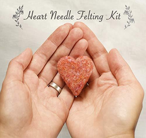 Needle Felting Kit - Heart - Valentines Day - Galentines Day - Beginner - FREE Video Tutorial Companion Kit - Craft Kit by Grey Fox Felting