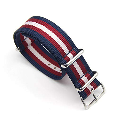 - SIFEIRUI Blue Red White NATO Watch Stripe Strap Ballistic Nylon Zulu Style Band with Stainless Steel Buckle 22mm
