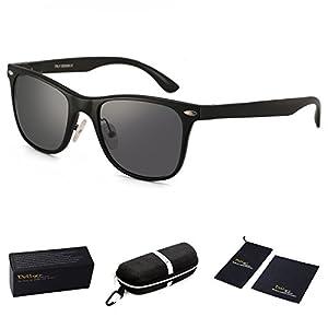 Dollger Mens Black Polarized Sunglasses Square Vintage Glasses for Driving Fishing Horn Rimmed
