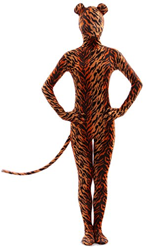 - 41ttiYtNRfL - Seeksmile Unisex Tiger Print Full Body Suit Zentai with Ear and Tail