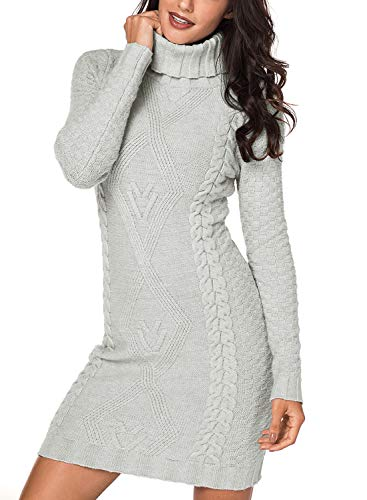 (Azokoe 2018 Sweaters for Women 2018 Winter Casual Slim Fit Chunky Turtleneck Pullover Cable Knit Sweater Mini Bodycon Dress Grey Small)