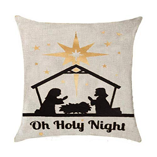 d Reindeer car Christmas Tree Farm Bring Home The Merry Happy Year OH holy Night Cotton Linen Throw Pillow Covers Case Cushion Cover Sofa Decorative Square 18 x 18 inch ()