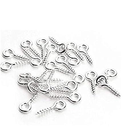 Jewelry Bead and Plastic Hugesavings 100 Pieces Screw Eye Hooks 4x10 mm Stainless Steel Eye Rings Lag Thread for Resin