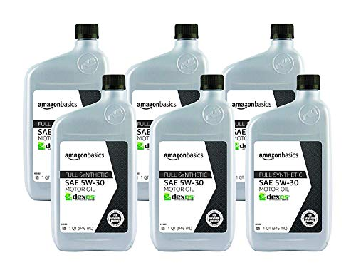 AmazonBasics Full Synthetic Motor Oil, SN Plus, dexos1-Gen2, 5W-30, 1 Quart, 6 Pack (Best Rated Motor Oil)