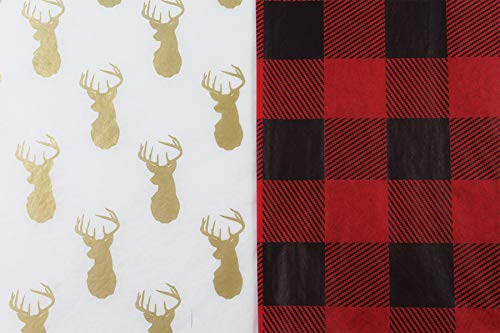 Rustic Woodland Lumberjack Tissue Paper for Gifts. 36-Pack Includes 18 Each of Buffalo Plaid & Gold Metallic Deer Patterned Sheets. Premium Quality Large 20 x 30 Squares. Red, Black, Gold, White