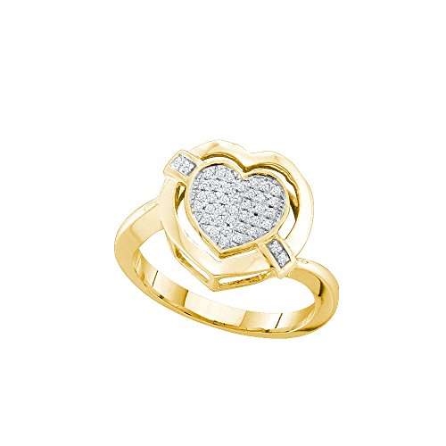10kt Yellow Gold Womens Round Diamond Heart Love Cluster Ring 1/6 Cttw (I2-I3 clarity; J-K color) by Jewels By Lux