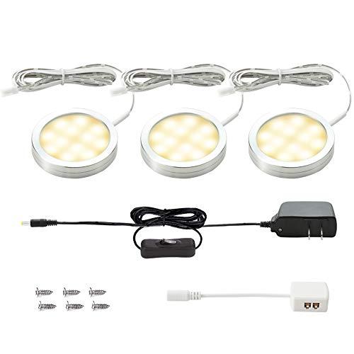 - LUNSY LED Under Cabinet Lighting Kit, Puck Lights 750lm, 3000K Warm White, Kitchen Closet Lights, Set of 3