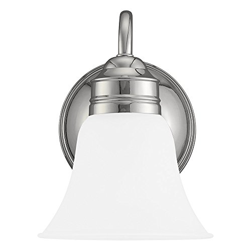 Sea Gull Lighting 44850-05 Gladstone One-Light Bath or Wall Sconce with Satin Etched Glass Shade, Chrome Finish by Sea Gull Lighting