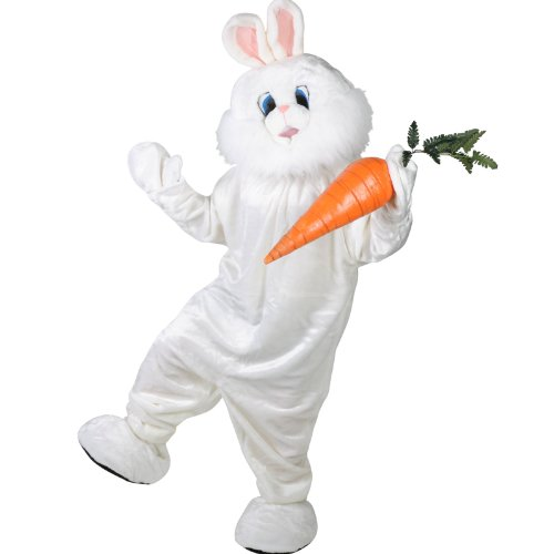 Forum Deluxe Plush Bunny Rabbit Mascot Costume, White, One Size (Bunny Costumes)