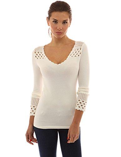 - PattyBoutik Women's Crochet Eyelet Inset V Neck Knit Top (Off-White Small)