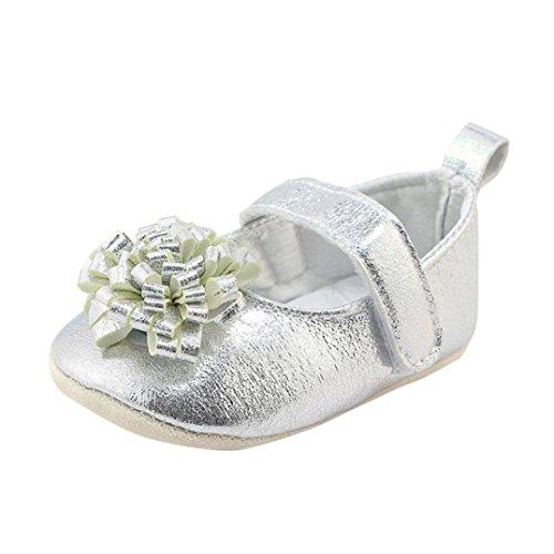 Ouneed® Krabbel schuhe , Herbst Winter Flower Crib Shoes Soft Sole Anti-slip Haken Loop Sneakers Silber