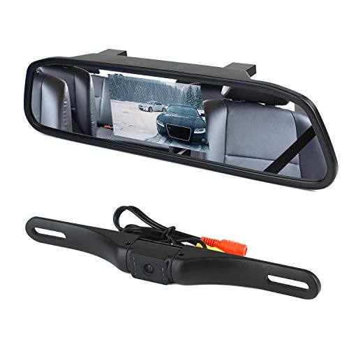 WEIKAILTD Backup Camera and Monitor Kit, 4.3 Car Vehicle Rearview Mirror Monitor for DVD VCR Car Reverse Camera Waterproof Car License Plate Rear View Camera Parking Assistance with Night Vision