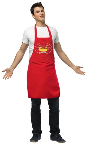 [Hot Dog Vendor Dirty Apron Costume] (Hot Dog Costume For Adults)