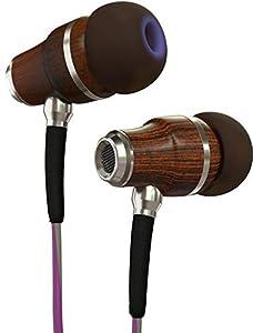 Écouteurs Symphonized NRG 3.0 | Écouteurs Intra-Auriculaires en Bois Isolant Le Bruit avec Contrôle du Volume et du Microphone (Violet & Gris Nuage)