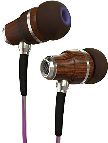 Symphonized NRG 3.0 Wood Earbuds, in-Ear Noise-isolating Headphones, Earphones with Mic & Volume Control (Resilient Purple & Hazy Gray)