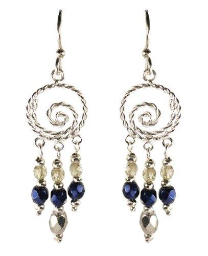 Bali Sky Long Wire Swirl Triple Bead Drop Chandelier Earrings -
