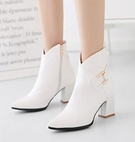 Aisun Womens Inside Zip Up Dressy Pointed Toe Booties Chunky High Heel Ankle Boots With Zipper White tC8H497Y