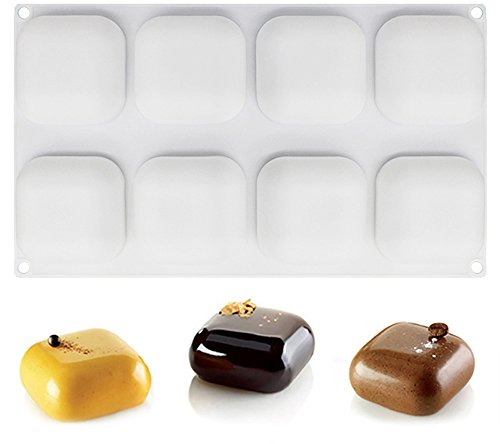 Food Grade Silicone Mousse Mold Square Shaped for Cake,Truffle, Brownie,Pudding, Dessert Baking Tools,Non Stick,BPA Free,8 Cavity, Pack of 1 by JOHO