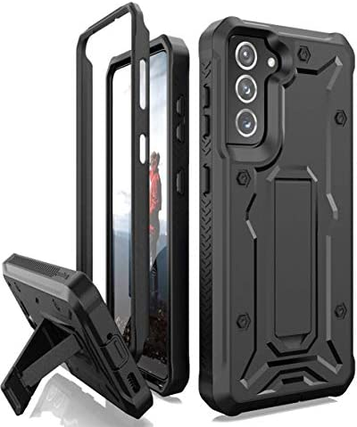 ArmadilloTek Vanguard Compatible with Samsung Galaxy S21 Case, Military Grade Full-Body Rugged with Built-in Kickstand [Screenless Version] - Black