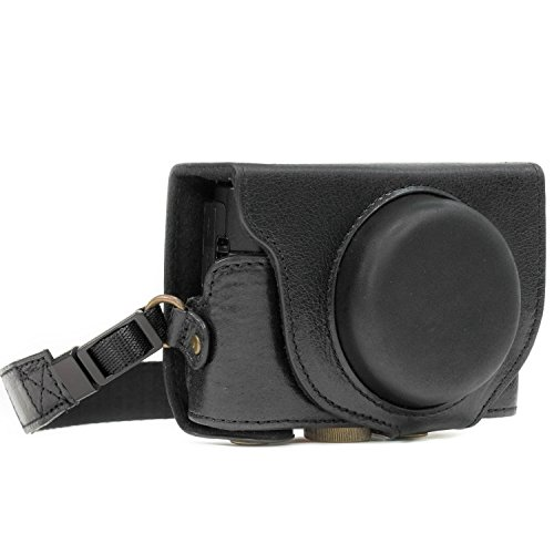 MegaGear MG874 Sony Cyber-Shot DSC-RX100 VI, DSC-RX100 V, DSC-RX100 IV Ever Ready Genuine Leather Camera Case with Strap - Black