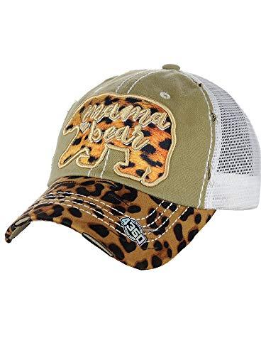 NYFASHION101 Women's Distressed Unconstructed Embroidered Baseball Cap Dad Hat, Mama Bear, Mesh Khaki