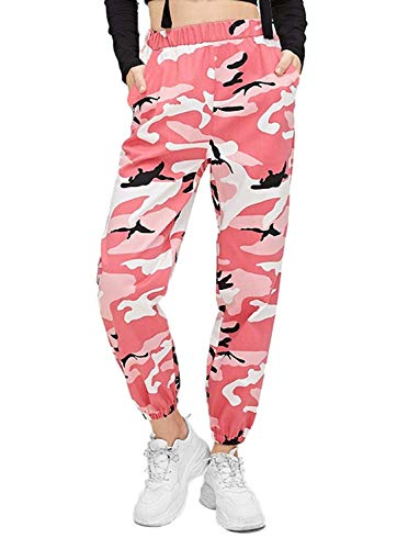 Women's Camouflage Jogger Pants, High Waisted Sweatpants Casual Hip Hop Trousers (Medium, Pink)