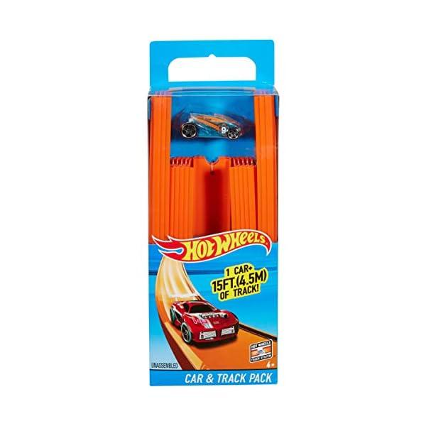 Hot Wheels- Track Builder Confezione da 15 Rettilinei e Veicolo Incluso, Multicolore, BHT77 7 spesavip