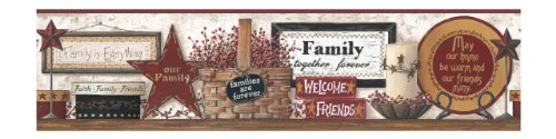 Country Shelf Wallpaper Border - York Wallcoverings CB5521BD Friends and Family Shelf Border