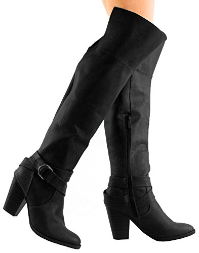 Breckelles Kvinners Strappy Over Kneet Chunky Stablet Hæl Riding Boot Sort