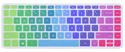 Colorful Keyboard Cover for HP Stream 14 inch Laptop | HP Stream 14-ax Series | HP Pavilion 14-ab 14-ac 14-ad 14-al 14-an 14-cb Protective Skin, Rainbow