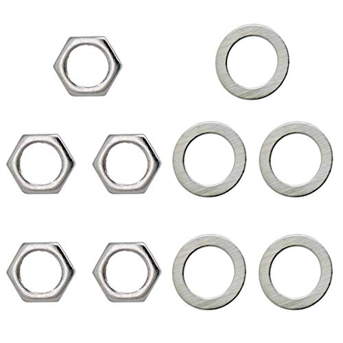 Yuuups Guitar Metal 5 Washers And 5 Nuts Set For Jack Socket D9mm
