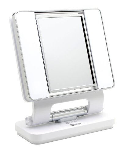 OttLite Natural Daylight Makeup Mirror l White/Chrome l 5x & 1x Magnification Dual-Sided Mirror l Multiple-Angle Options l Low Heat & Energy Efficient
