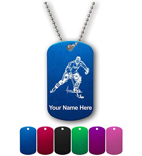 Military Style ID Tag, Hockey Player Man, Personalized Engraving Included