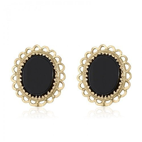 10k Gold Earrings Onyx - 10K Yellow Gold Baby Stud Gold and Onyx Oval Earrings
