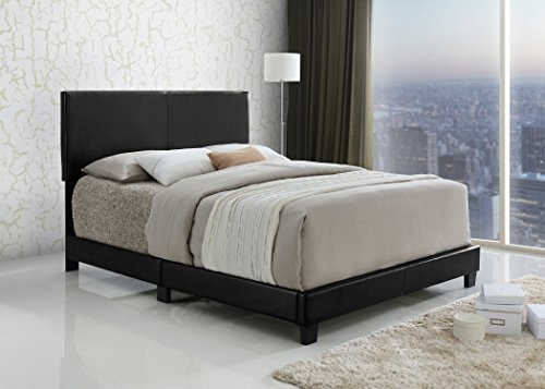 Black Bonded Leather Queen Size Upholstered Headboard (Leather Headboard Bed)