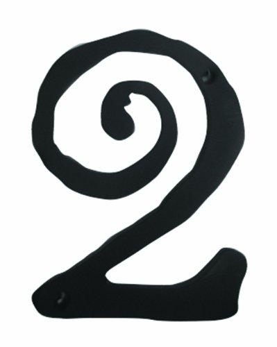 Atlas Homewares SCN2L-BL 5.5-Inch Large Scroll House Number-2, Matte Black