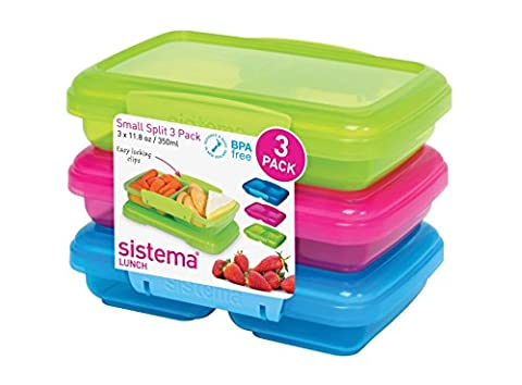 Sistema Lunch Collection Split Food Storage Containers, 1.5 Cup, Set of 3 in Assorted Colors (Sistema Klip It Split)