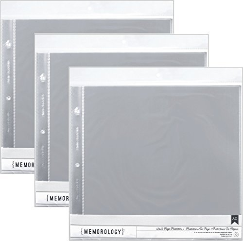 3-Pack - American Crafts 12-Inch by 12-Inch Page Protectors (10 pages per - D-ring American Crafts Album Modern